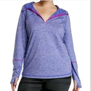 Z by Zella Hooded 1/4 Zip Up Pullover Sweater Top